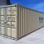 Closeup of 40' storage container.