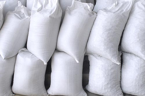 sand and salt bags in warehouse