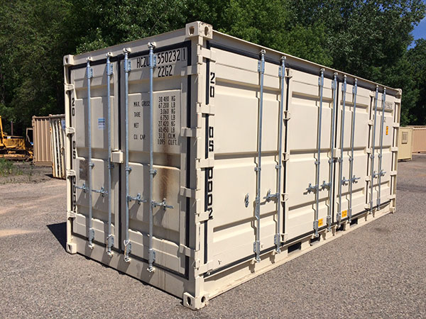 angle view side-opening storage container