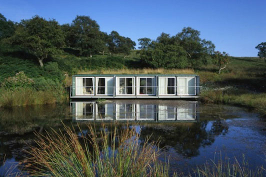 waterfront shipping container cabin exterior