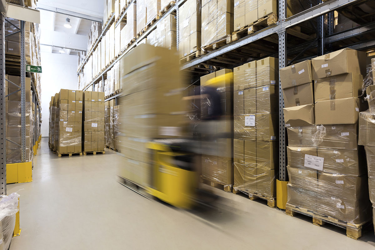 warehouse forklift in motion