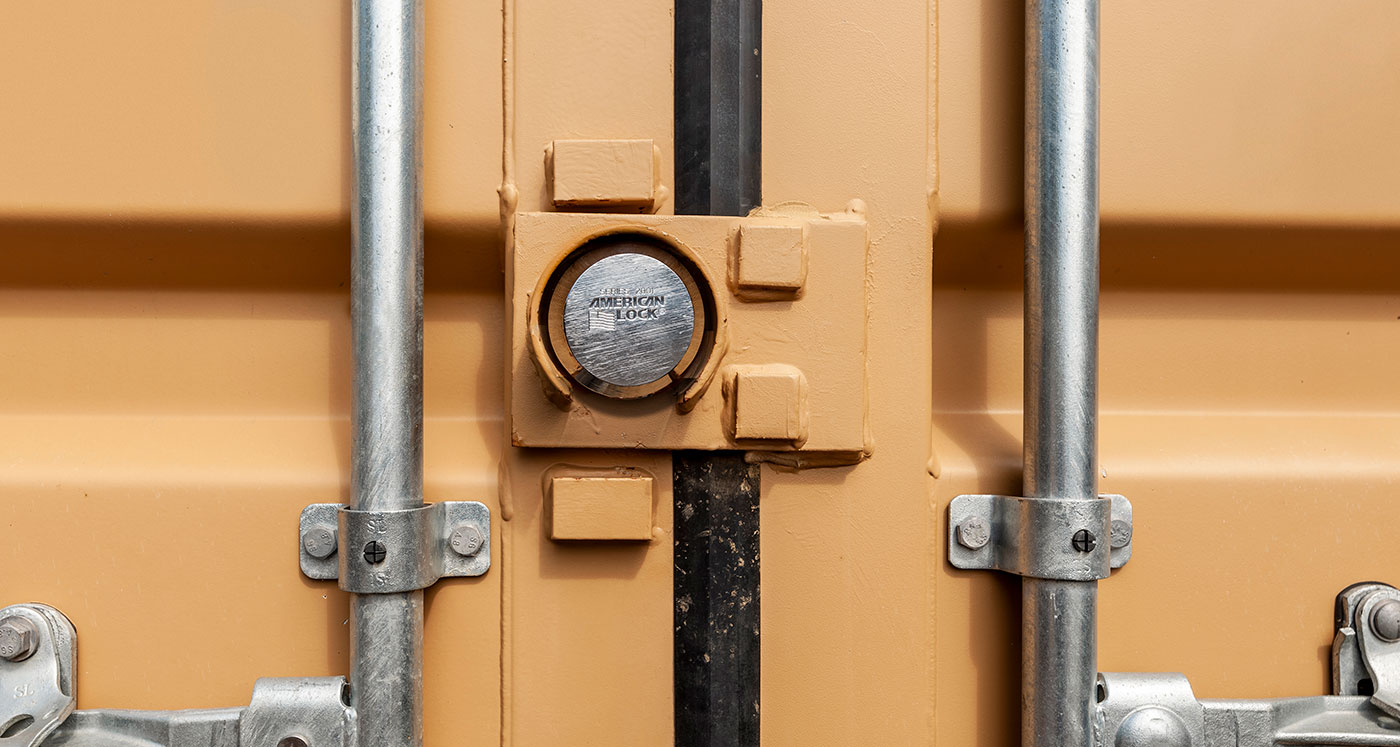 storage container door with lock