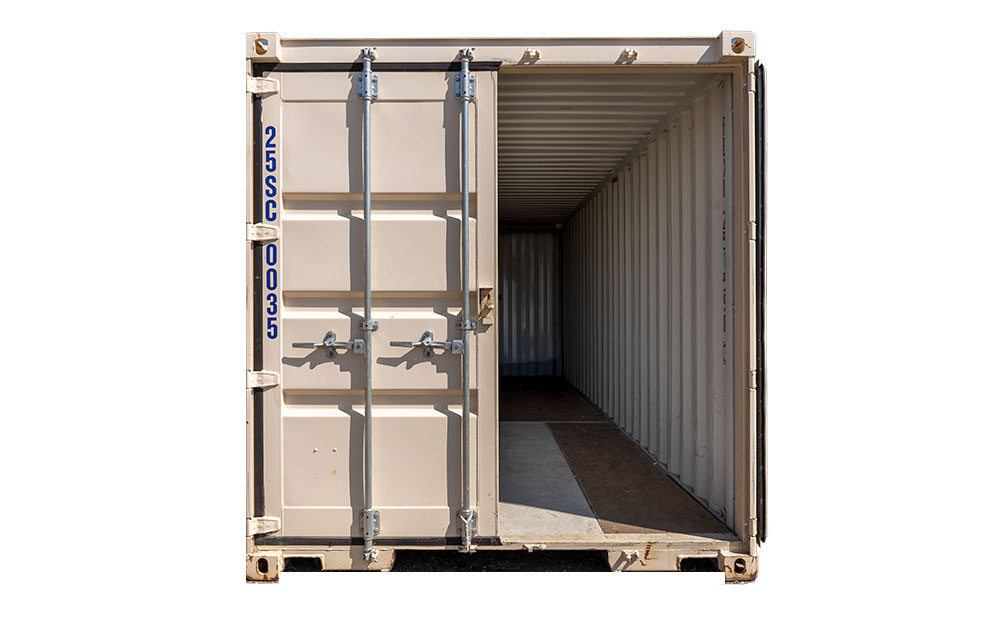 25 foot storage container door open