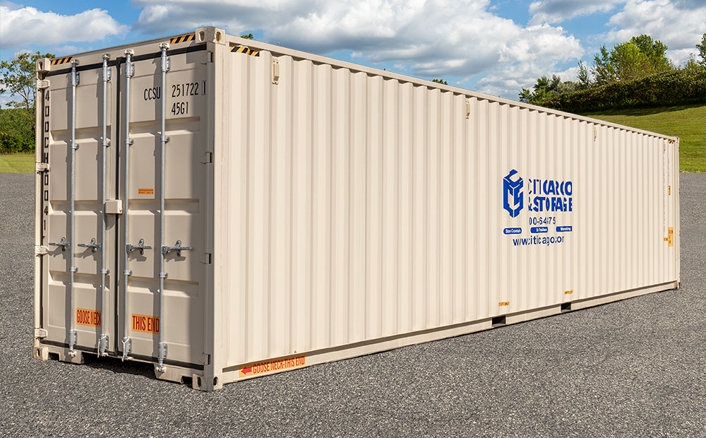 side view of 40 foot storage container