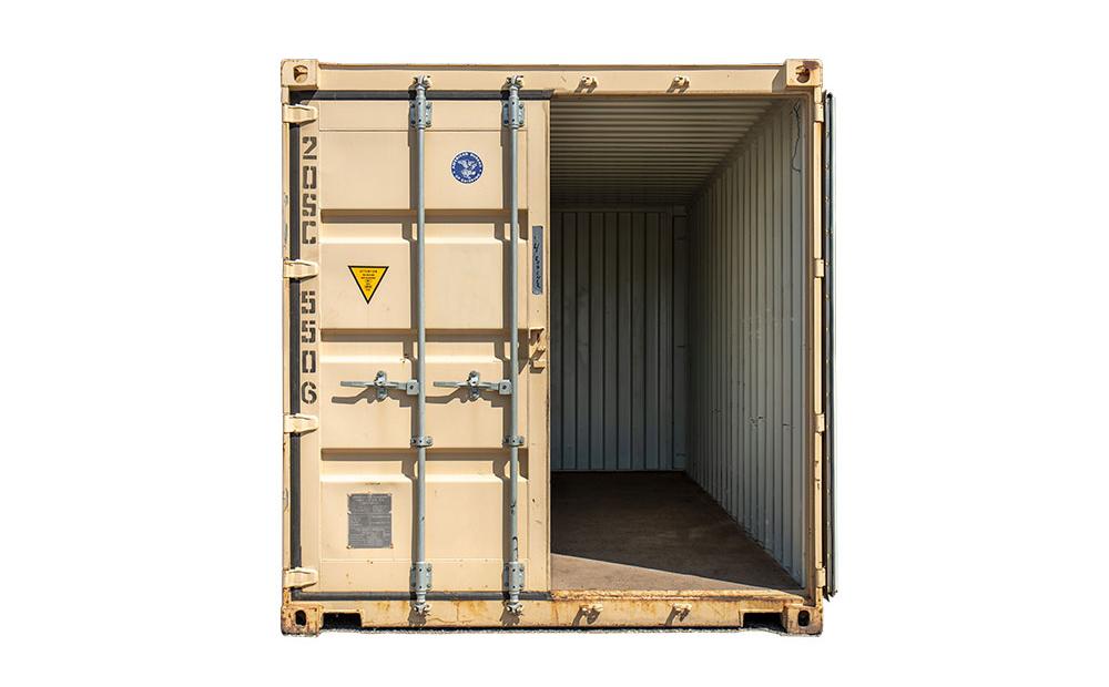on-site storage container with open door
