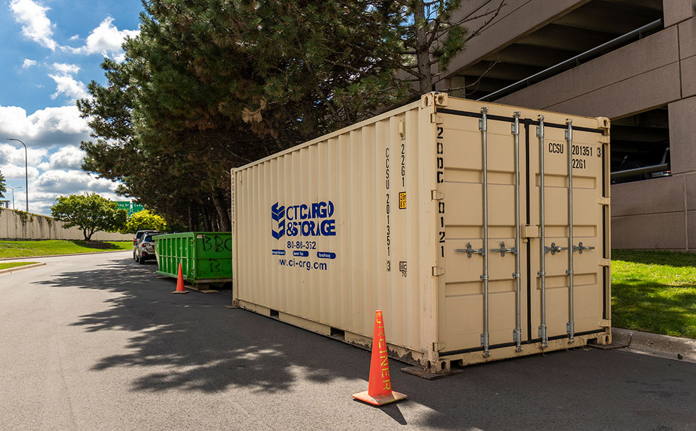 on-site storage container on street