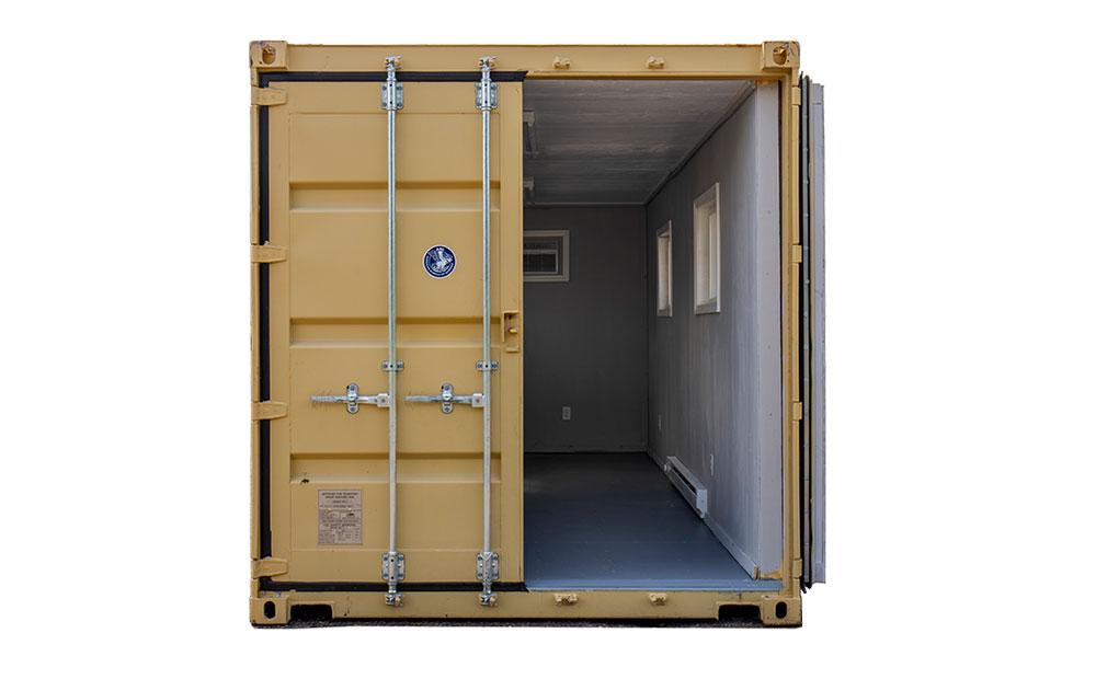 15 foot temporary office door open