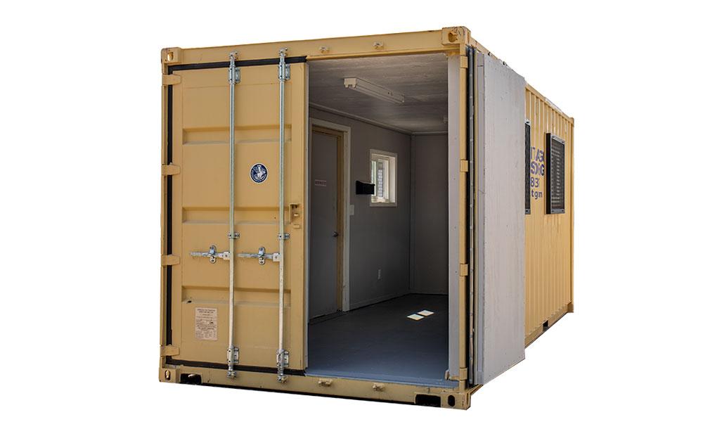 20 foot temporary office door open